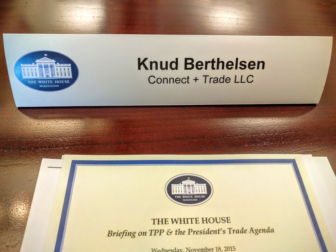 Connect + Trade CEO Knud Berthelsen White House TPP Briefing